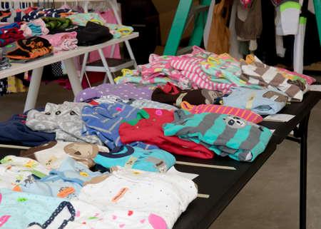 Colorful children's pajamas a suburban yard sale