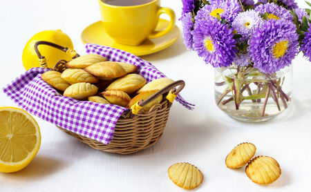 cookies in a basket on the violet photo