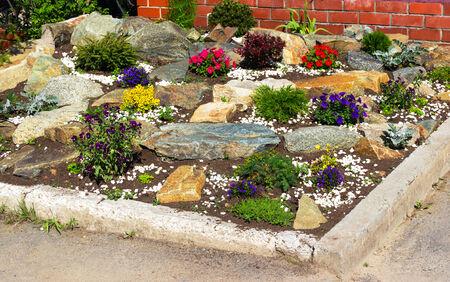 Blumen und Steine ??auf einem Rasen
