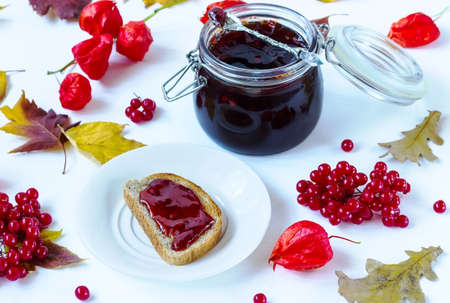 guelderrose: jam from a guelderrose on a white background with autumn leaves Stock Photo
