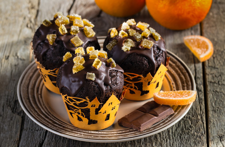 candied fruits: chocolate muffins with candied fruits