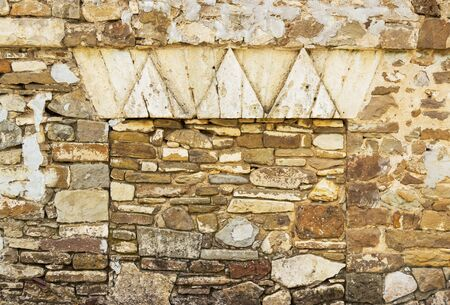coquina: old rough brick horizontal wall
