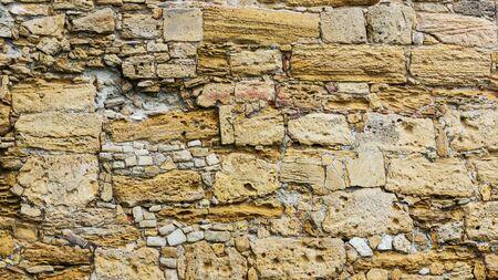 old brick wall: old rough brick horizontal wall