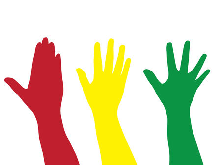three silhouettes of hand in red, green and yellow Illustration