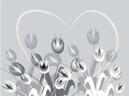 field of gray tulips Stock Vector - 6612028