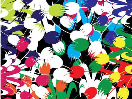 field of multicolor tulipes Stock Vector - 6612032