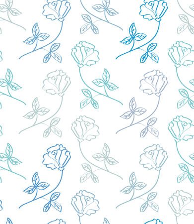 seamless floral pattern in blue colors Vector