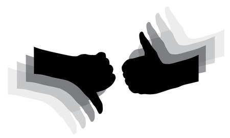 fiasco: silhouettes of hands symbol of luck and failure Illustration