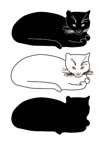 carnivoros: conjunto de siluetas de gatos