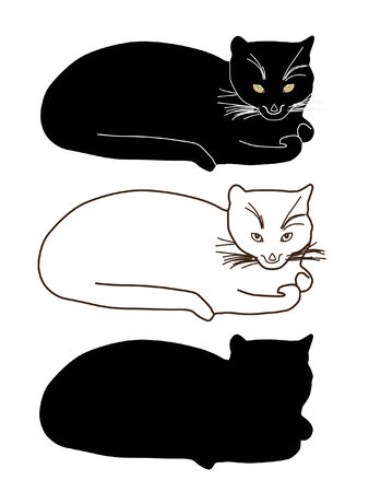carnivores: set of cats silhouettes