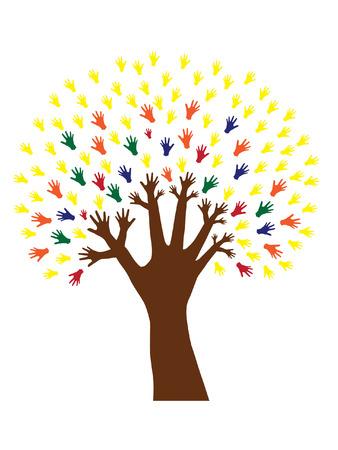 hand tree symbol of diversity Illustration