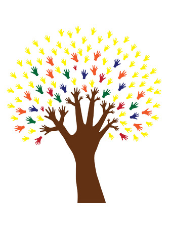 decision tree: hand tree symbol of diversity Illustration