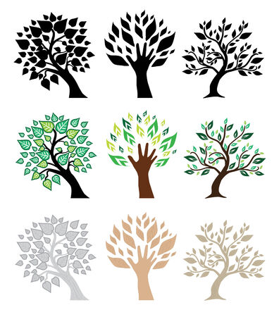 hand tree: set of trees in different colors