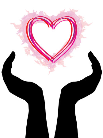 hand silhouettes with red heart Stock Vector - 6823049