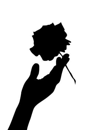 hand silhouette wirh rose Vector
