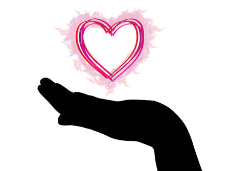 hand silhouette with red heart Stock Vector - 6823056