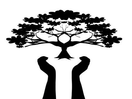 menselijke handen zorg boom