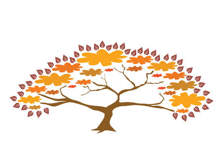bonsai: abstract bonsai tree in orange colors