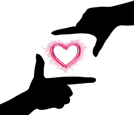 hands silhouettes of heart Stock Vector - 6910599