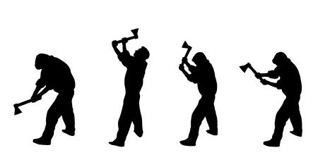leñador: símbolo de siluetas de leñador de trabajo  Vectores