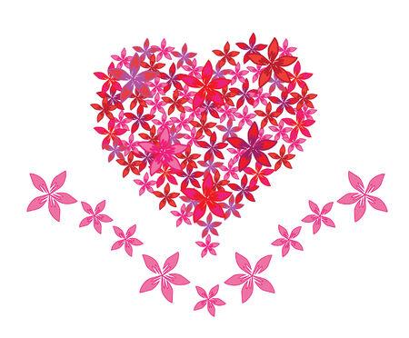 heart beat: floral heart symbol of love Illustration