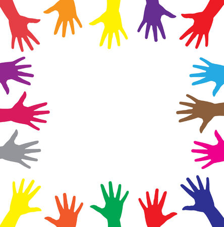 concurrence: multicolor hands symbol of diversity