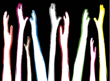 concurrence: human hands symbol of diversity