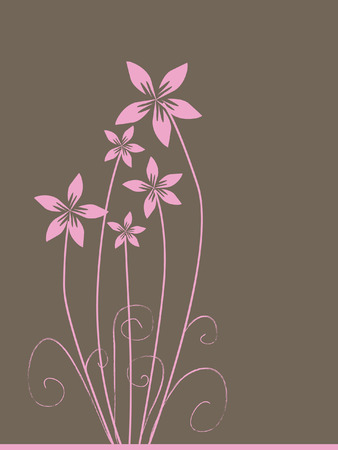 bouquet of pink flowers with space for text Illustration