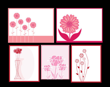set of pink floral invitations for life events Vector
