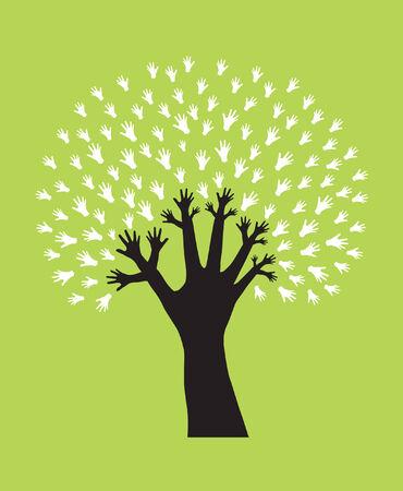 recycle tree: hand tree, symbol of diversity Illustration