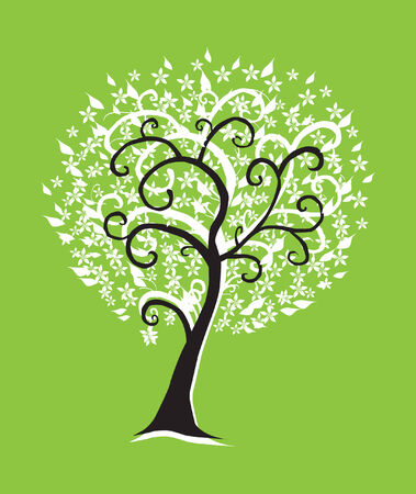 abstract floral tree, symbol of nature Vector