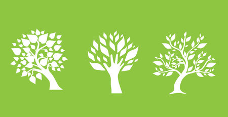 set of abstract trees, symbol of nature Vector
