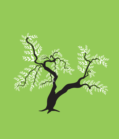 abstract bonsai tree, symbol of nature Vector