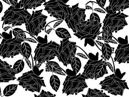 floral texture with black roses on white background Vector
