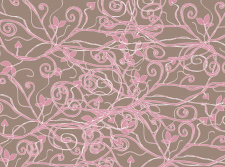 floral background in pink brown colors Vector