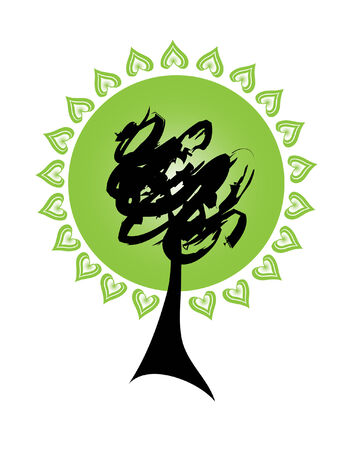 abstract tree silhouette, symbol of nature