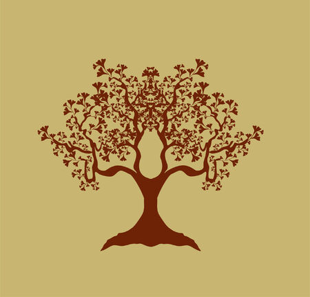 japanese style: abstract tree in brown colors, symbol of nature Illustration