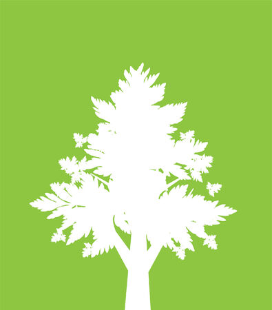 abstract tree in white and green colors, symbol of nature Vector