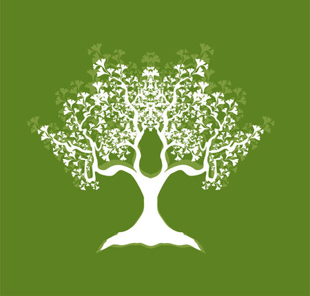 abstract tree in white and green colors, symbol of nature