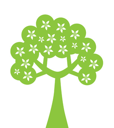 abstract floral tree in green and white colors, symbol of nature Stock Vector - 7474235