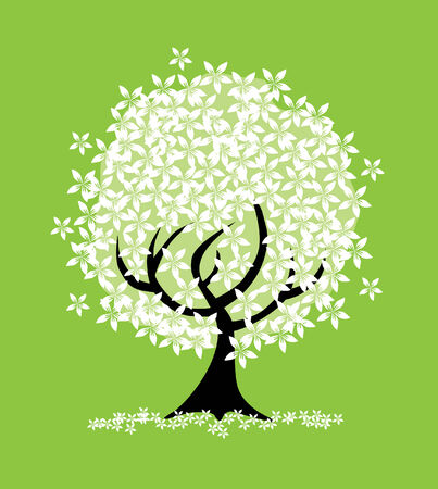 abstract white flowers tree, symbol of nature