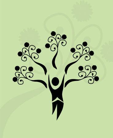 abstract human tree, symbol of life and nature