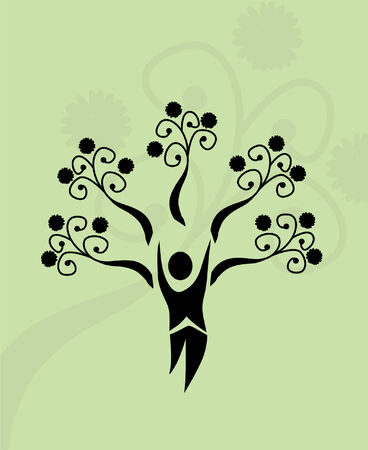 people nature: abstract human tree, symbol of life and nature