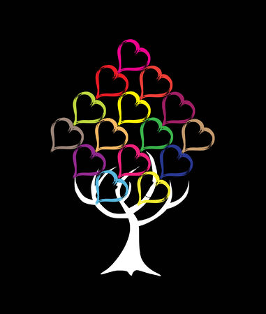 abstract tree made by multicolor hearts, symbol of nature Stock Vector - 7719101
