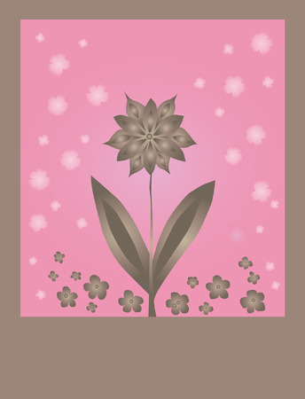 floral card for life events with space for text in pink brown colors Illustration