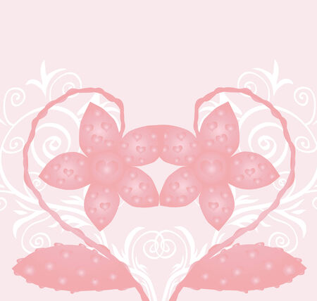 valentine's day card with space for text and beautiful pink flowers making heart shape Stock Vector - 8605139