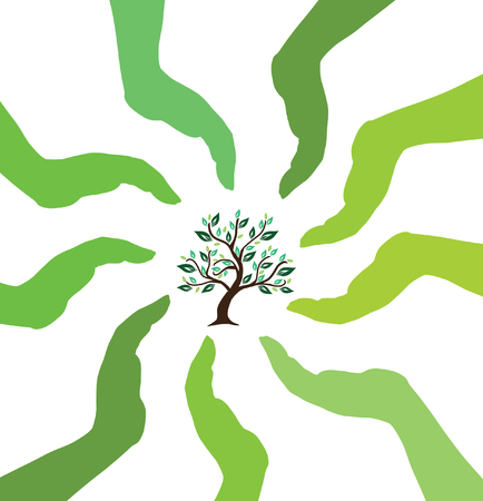 human hands caring tree, protect nature concept Vector