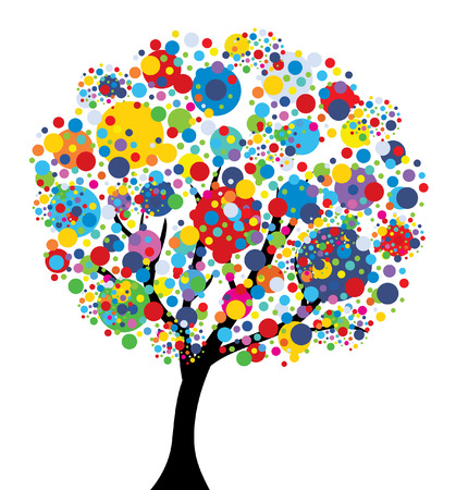 abstract multicolor tree, symbol of nature Stock Illustratie