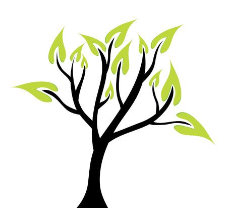 abstract green tree, symbol of nature Illusztráció