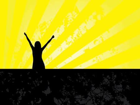 girl winner silhouette in black and yellow colors